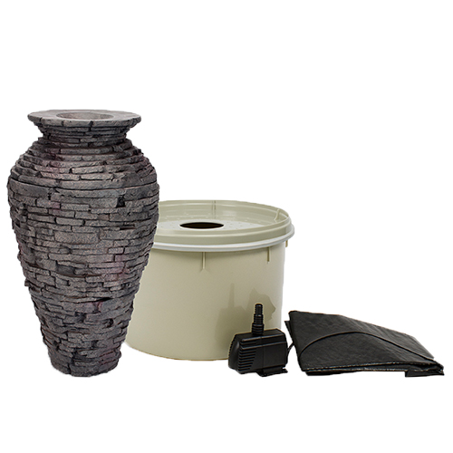 Aquascape stacked slate urn small kit mpn 58064 best for Firerock fireplace cost