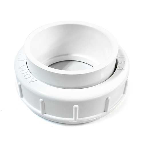 "Aqua Ultraviolet Union Half, 2"" Without Thread, with O-Ring and Union Ring, White (MPN A40265)"